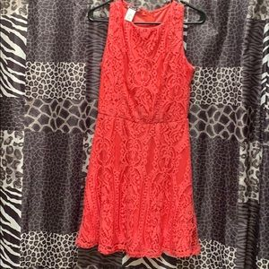 Coral/red lace knee length dress